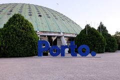 Porto sign in garden of The Crystal Palace  Palacio De Cristal Stock Images