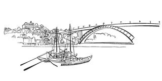 Porto Skyline Panorama Illustration. Hand-drawn Vector Outline Sketch Royalty Free Stock Photo