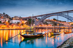Porto Skyline. Porto, Portugal old town skyline on the Douro River with rabelo boats stock photos