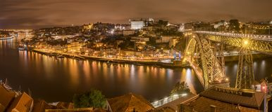 The Porto skyline with the river Douro at night royalty free stock photo