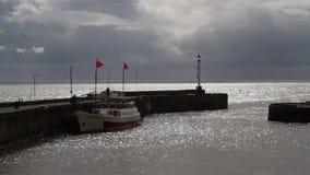 Porto soleggiato con la nave di passeggero video d archivio