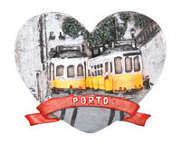 Porto Souvenir. Heart shaped souvenir of the city of Porto, Portugal. With typical yellow and white trams. Isolated on white Royalty Free Stock Images