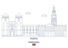 Porto stadshorisont, Portugal Royaltyfri Bild