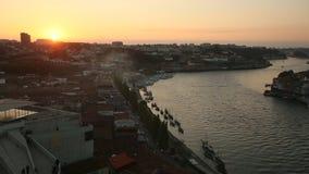 Porto stadshorizon van van Mosteiro DA Serra do Pilar stock videobeelden