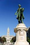 Porto stadshus och monument av droppen för konung Peter, Porto, Portugal Arkivfoto