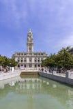 Porto stadshus på Avenida DOS Aliados En Neoclassical byggnad Royaltyfria Bilder