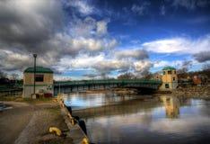 Porto Stanley, ponte di ascensore storico di Ontario Immagine Stock