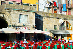 Porto street restaurant Stock Photos