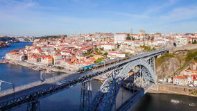 Porto subway trains passing on Dom Luis I bridge, the Ribeira and Douro River. Porto, Portugal stock video footage