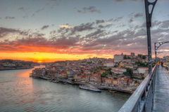Porto at sunset. HDR of Porto from Dom Luis bridge Stock Photo