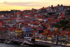 Porto at Sunset. The historic central district of Porto, Portugal, at sunset Royalty Free Stock Image