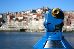 Porto telescope. Porto views trough a blue telescope Stock Photos