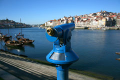 Porto telescope. Porto views trough a blue telescope Stock Photography