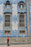 Porto tiles Portugal. Carmo Church, built in the 18th century. It is a magnificent example of late baroque architecture. The extraordinary side wall is stock images
