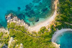 Porto Timoni is an amazing beautiful double beach in Corfu, Greece royalty free stock images