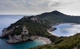 Porto Timoni dwoista zatoka w Afionas Corfu Grecja fotografia royalty free