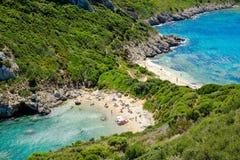 Porto Timoni, the most famous and beautifull beach in Corfu Stock Photography