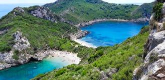 Porto Timoni, praia em Corfu imagem de stock
