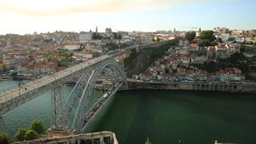 Porto train skyline stock footage