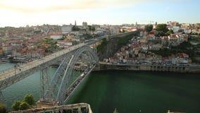 Porto train skyline. Aerial view of Dom Luis I on Douro River with train from Miradouro da Serra do Pilar at Vila Nova de Gaia, Porto, Portugal. The iron arch stock footage