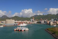 Porto Trou Fanfaron, porto e città Port Louis, Isola Maurizio Immagine Stock