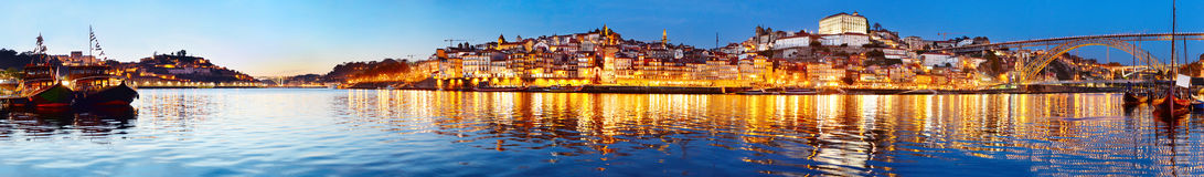 Porto twilight panorama, Portugal Stock Photography