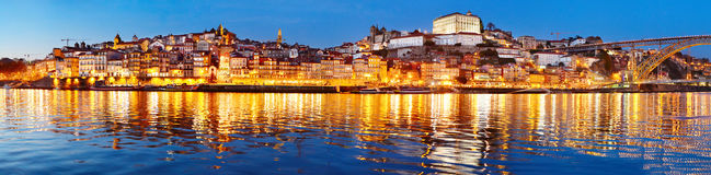 Porto twilight panoramic view, Portugal Stock Photo