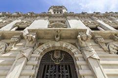 Porto urzędu miasta fasadowa perspektywa, lokalizować przy Avenida dos Aliados Zdjęcie Royalty Free