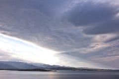 Porto Vecchio bay. Storm clouds gather above the Porto Vecchio bay in Corsica Royalty Free Stock Photo