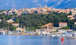 Porto-Vecchio, coastal cityscape with yachts Royalty Free Stock Photo