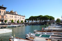 Porto Vecchio Desenzano Garda lake. Seaview over the Garda lake Desenzano Stock Photo
