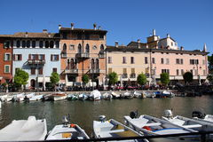 Porto Vecchio Desenzano Garda lake. Seaview over the Garda lake Desenzano Stock Image