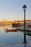 Porto velho na noite, ilha de Rethymno da Creta Fotografia de Stock Royalty Free