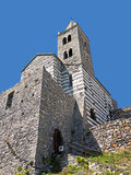 Porto Venere, Italy. Church of Saint Peter, landmark in the Gulf Stock Photo