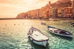Porto Venere miasteczko Cinque Terre panoramiczny widok Obraz Stock