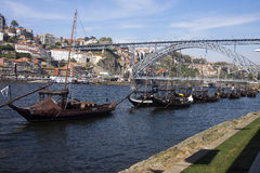Porto and Vila Nova de Gaia Portugal. Douro river port and Porto from Vila Nova de Gaia Portugal Stock Photos