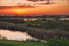 Porto Viro, Rovigo, Veneto, Italië: lagune in het natuurreservaat Royalty-vrije Stock Foto's