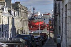 Porto visto dalla via di Marischal Aberdeen, Scozia, Regno Unito fotografia stock libera da diritti