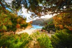 Porto Vromi Zakynthos in summer time. Nobody on the beach. Color Stock Photo