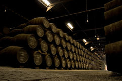 Porto wine Barrel in warehouse Stock Images