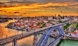Porto z Dom Luis mostem Fotografia Stock