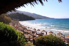 Porto Zorro strand op het eiland van Zakynthos, Griekenland Royalty-vrije Stock Fotografie