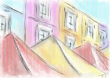 Portobello bazaar on the street. On multicolor background royalty free illustration