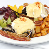 Portobello mushroom brie eggs benedict Stock Photo