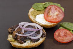 Portobello Mushroom Burger Stock Photo