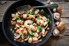 Portobello mushroom fried Stock Photos