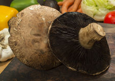 Portobello mushrooms. On a cutting board with fresh salad ingredient in the background royalty free stock photography