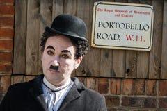 Portobello road with actor. Like Charlie Chaplin. Portobello road/market, London, United Kingdom royalty free stock photos