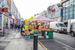 Portobello Road Market, a famous street in the Notting Hill, London, England, United Kingdom stock images