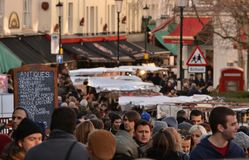 Portobello Road street market London Stock Photography